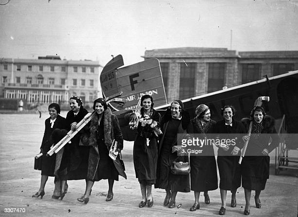A Parisian ice hockey team at Croydon Aerodrome after arriving in England from France