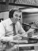 Irish broadcaster Terry Wogan working as a disc jockey