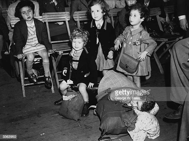 Some of the 235 Jewish child refugees 'Kindertransport' on their arrival from Vienna at Liverpool Street Station London