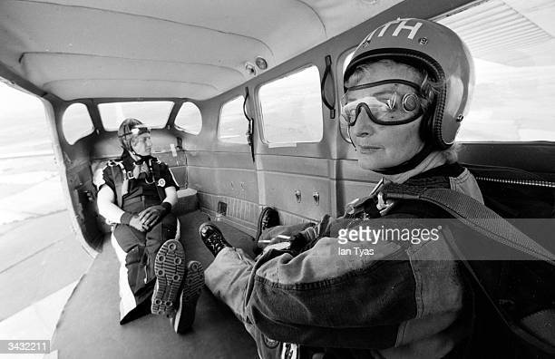 60yearold Edith Summers prepares to take off on her 100th skydive from an airfield in Nottinghamshire She is as yet unchallenged in her claim to be...