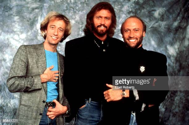 The Bee Gees posed together in New York City on 14th July 1989 Left to right Robin Gibb Barry Gibb and Maurice Gibb