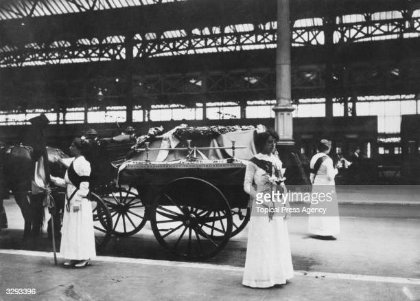 Mrs Yates Mary Lee and Gladys Evans at the funeral of Emily Davison killed by King's horse at the Derby