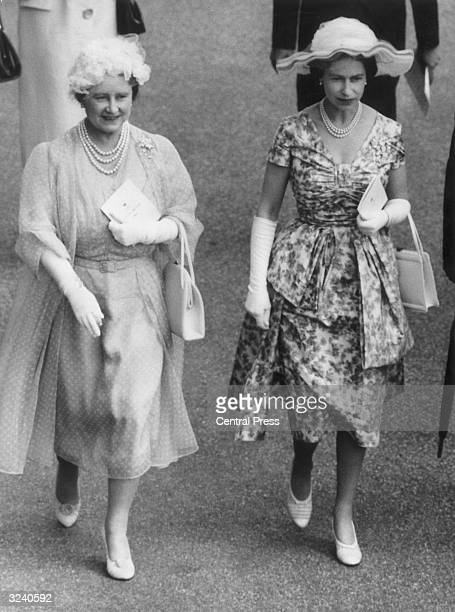 Queen Elizabeth and The Queen Mother at Ascot for the Royal Hunt Cup