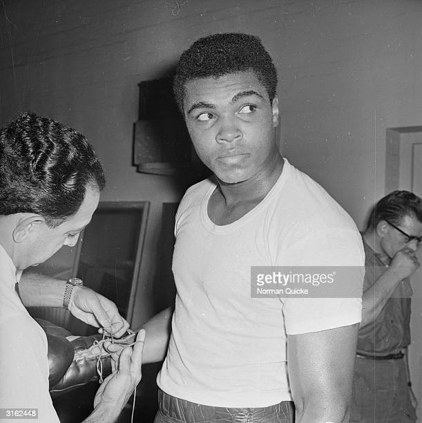 American boxer Cassius Clay before his World Heavyweight Title fight against Britain's Henry Cooper