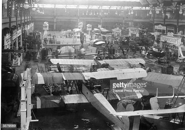 Display stands at the Aero Show Olympia London