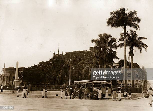 Trafalgar Square in Bridgetown Barbados showing the War Memorial and Post Offices