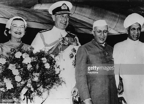 Pandit Jawaharlal Nehru and Dr Radhakrishnan welcoming Viscount Louis Mountbatten and his wife to India at New Delhi Airport