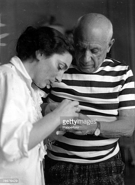 14th March 1961 Vallauris France A picture of the legendary Spanish artist and founder and leader of the Cubist school Pablo Picasso and his new wife...