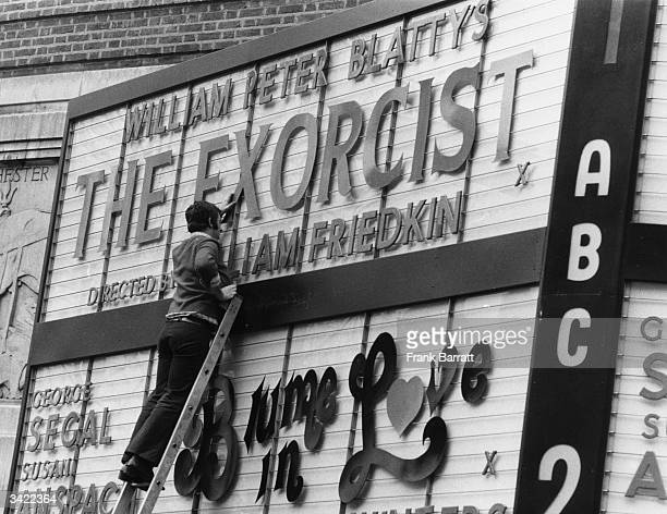 The ABC cinema in Shaftesbury Avenue advertising the opening of 'The Exorcist' directed by William Friedkin