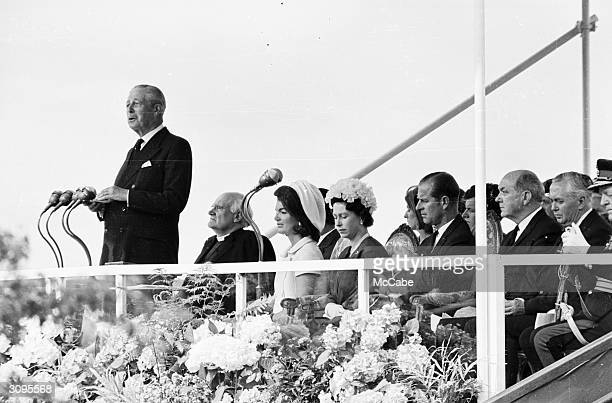Former British prime minister Harold Macmillan gives a speech at the inauguration ceremony of a memorial to John F Kennedy at Runnymede Behind him on...