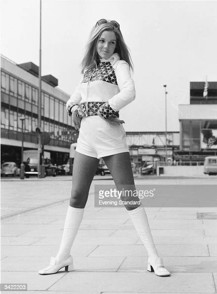 Belinda Cooper wears one of the outfits she will be showing to American buyers a suit of kneelength socks hot pants and embroidered cropped jacket