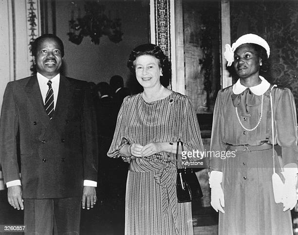Cameroonian president Paul Biya and his wife with Queen Elizabeth II at Buckingham Palace London during an official visit to Britain