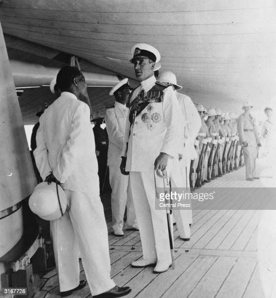 Representative of Emperor Haile Selassie Bitwoded Andar Gatchou Massaid welcomes Earl Mountbatten at Massacua during his official visit to Ethiopia