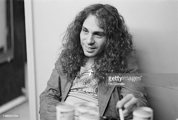 singer Ronnie James Dio from rock band Rainbow posed backstage at the Calderone Concert Hall in New York on 14th November 1975