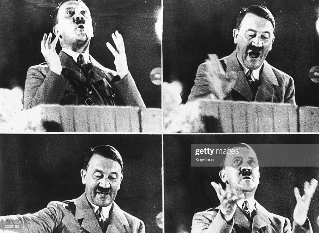 German dictator <a gi-track='captionPersonalityLinkClicked' href=/galleries/search?phrase=Adolf+Hitler&family=editorial&specificpeople=90219 ng-click='$event.stopPropagation()'>Adolf Hitler</a> at various moments during his delivery of a speech.