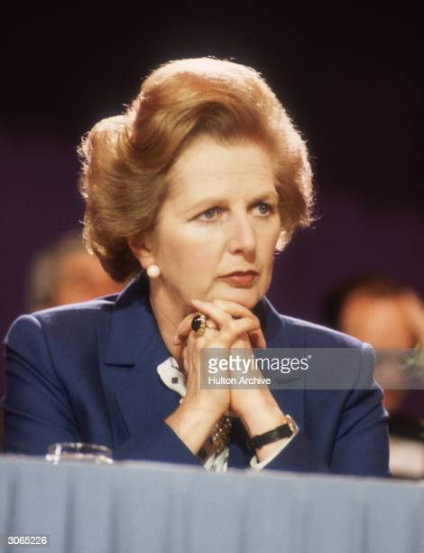 British Conservative politician and first woman to hold the office of Prime Minister of Great Britain Margaret Thatcher at the Tory Party Conference...