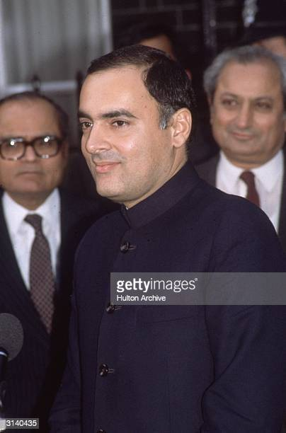 Indian prime minister Rajiv Gandhi at No10 Downing Street for talks with British prime minister Margaret Thatcher