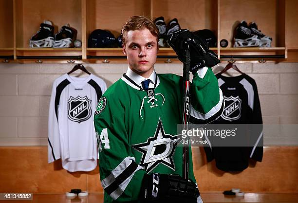 14th overall pick Julius Honka of the Dallas Stars poses for a portrait during the 2014 NHL Entry Draft at Wells Fargo Center on June 27 2014 in...