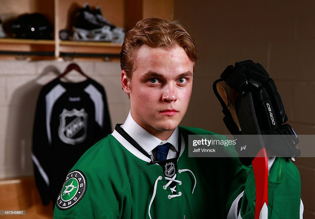 14th overall pick <a gi-track='captionPersonalityLinkClicked' href=/galleries/search?phrase=Julius+Honka&family=editorial&specificpeople=9966154 ng-click='$event.stopPropagation()'>Julius Honka</a> of the Dallas Stars poses for a portrait during the 2014 NHL Entry Draft at Wells Fargo Center on June 27, 2014 in Philadelphia, Pennsylvania.