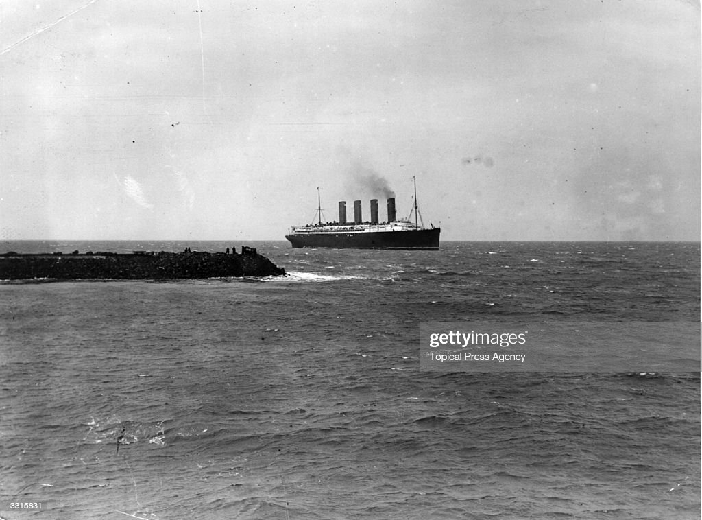 The Cunard liner the 'Lusitania' arrives at Fishguard.