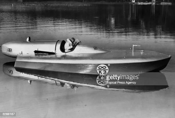 Speedboat racer Sir Malcolm Campbell in Bluebird the boat in which he set a world water speed record