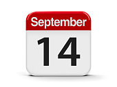 Calendar web button - The Fourteenth of September, three-dimensional rendering, 3D illustration