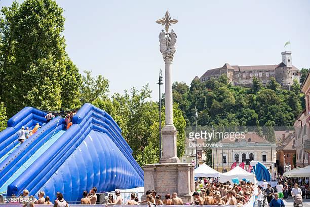 150-meter water slide on  Congress Square in Ljubljana, Slovenia