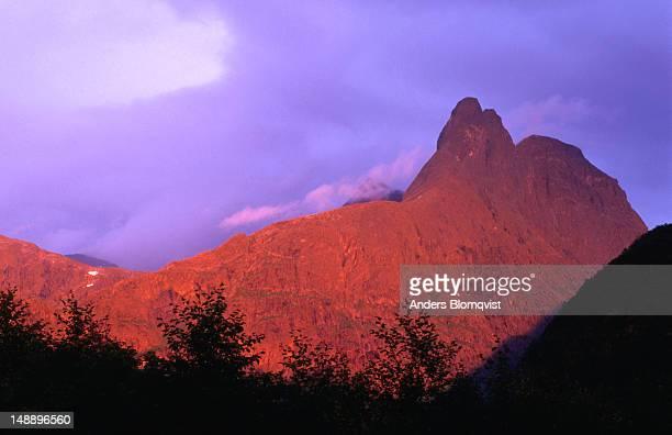 1550m-high Romsdalshorn at sunset.