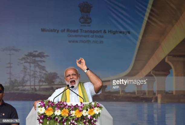 Indian Prime Minister Narendra Modi inaugurates the DholaSadiya bridge across the River Lohit a tributary of the River Brahmaputra in Assam on May 26...
