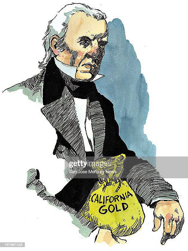 15p x 20p Jim Hummel color illustration of James Polk, president when California gold rush began.
