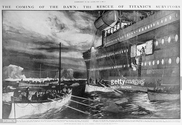 The Carpathia arrives to pick up survivors in lifeboats from the Titanic Original Publication The Graphic pub 1912