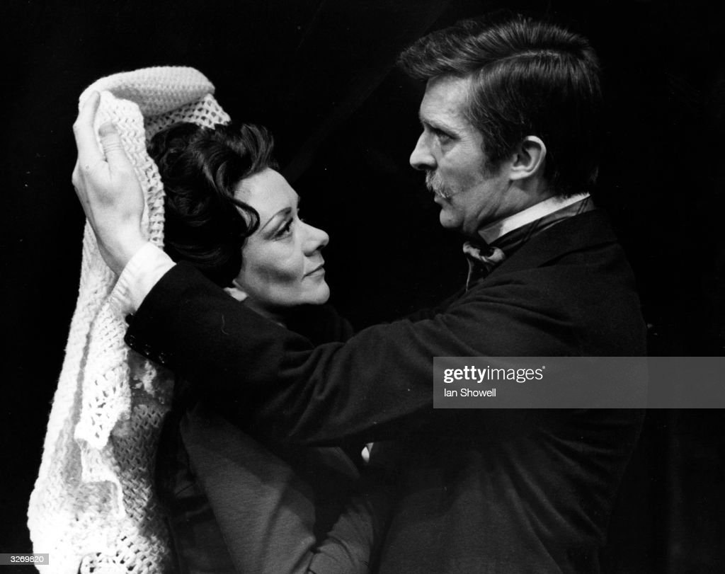 <a gi-track='captionPersonalityLinkClicked' href=/galleries/search?phrase=Joan+Plowright&family=editorial&specificpeople=217859 ng-click='$event.stopPropagation()'>Joan Plowright</a>, playing Rebecca West, and Jeremy Brett, playing John Rosmer, in a scene from Ibsen's play 'Rosmersholm' during rehearsal at Greenwich Theatre.