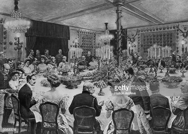 Guests at a state dinner in honour of King Edward VII hosted by Franz Joseph I emperor of Austria at the imperial villa of Ischgl