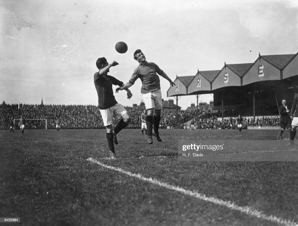 Woods heading the ball during a preseason trial game between Arsenal's first and second teams at Highbury