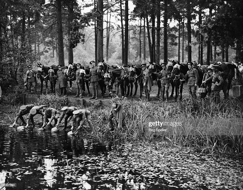 Artillery men getting water for their horses from the Basingstoke canal during a lull in army training operations