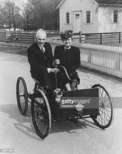 American motor manufacturer Henry Ford Snr and his wife Clara seated in the first Ford car built in 1896 and first tested out in Detroit