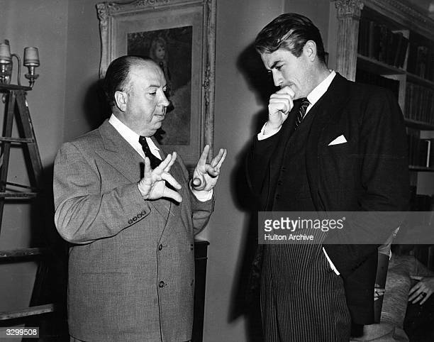 This candid shot of director Alfred Hitchcock with American actor Gregory Peck received second prize in the 4th Hollywood studios still photography...