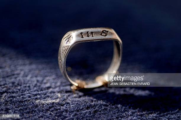 TOPSHOT A 15th century ring believed to have been owned by the French heroine Joan of Arc is seen on a cushion during a ceremony on March 20 2016 at...