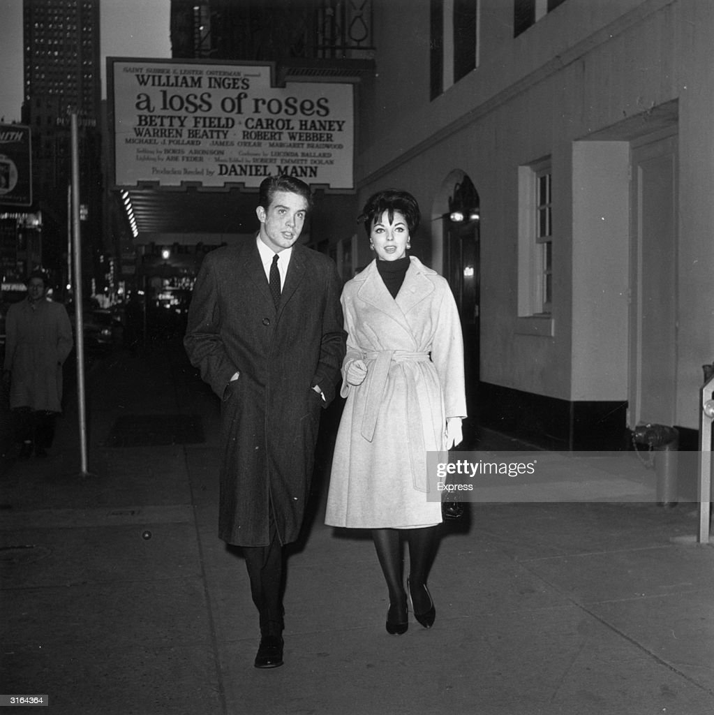 English starlet Joan Collins with American actor Warren Beatty in New York.