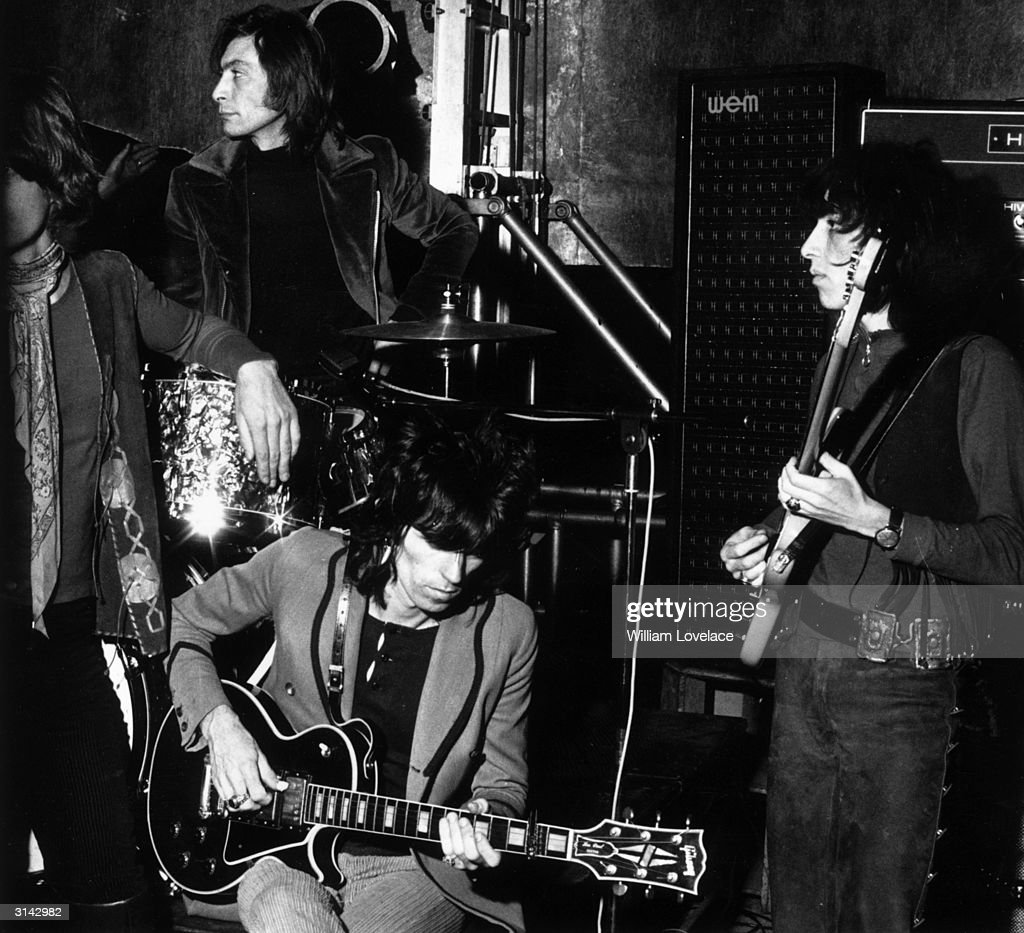 The Rolling Stones in rehearsal for a concert at the Saville Theatre, London. Left to right : Mick Jagger, Charlie Watts, <a gi-track='captionPersonalityLinkClicked' href=/galleries/search?phrase=Keith+Richards+-+Musician&family=editorial&specificpeople=202882 ng-click='$event.stopPropagation()'>Keith Richards</a> and Bill Wyman.
