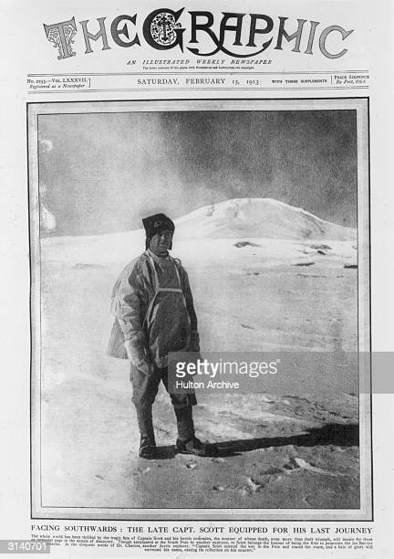 Polar explorer Robert Falcon Scott before his march to the south pole from which he never returned Original Publication The Graphic pub 1913