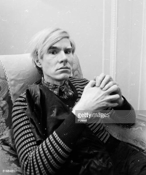 Pop artist Andy Warhol at the Ritz Hotel in London to promote the film 'Trash' directed by Paul Morrissey and produced by himself