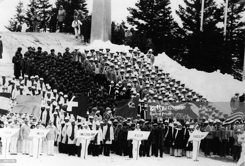 The representatives of Switzerland USSR and Yugoslavia at the opening ceremony of the 1980 Winter Olympic Games at Lake Placid USA