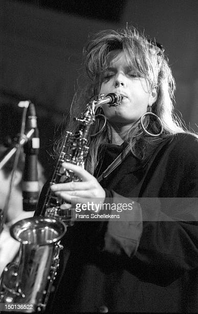 Dutch saxophone player Candy Dulfer performs live on stage at SJUHuis in Utrecht Netherlands on 15th February 1987