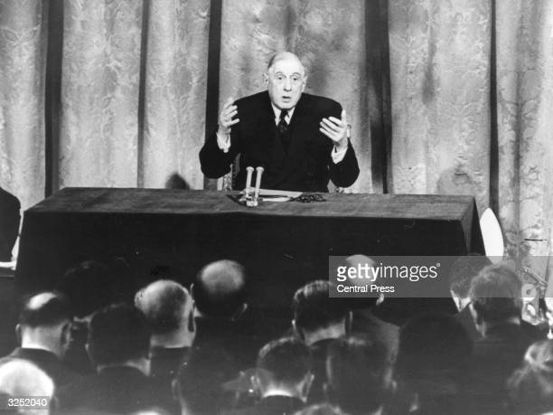 Charles de Gaulle president of the French Republic making a speech at his press conference at Paris during which he stated that Britain was not ready...