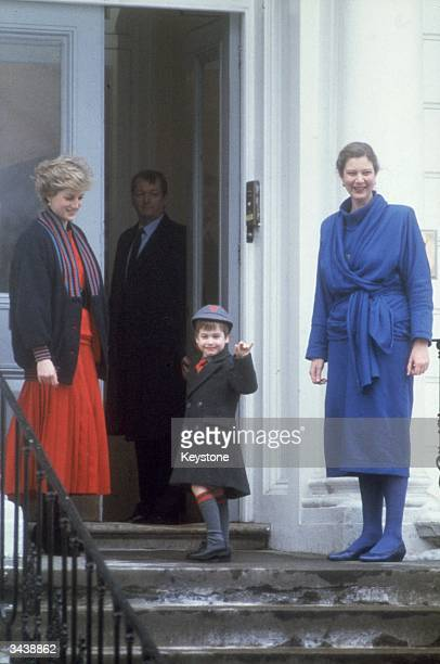 Diana Princess of Wales accompanies her son Prince William on his first day at Wetherby School London