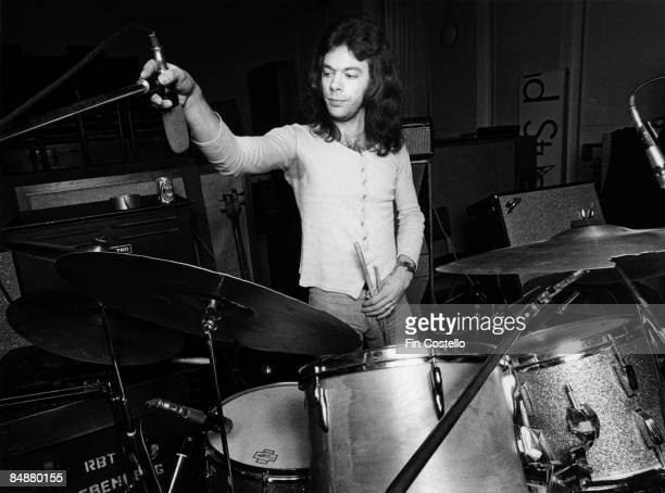 Drummer Bob Siebenberg from Supertramp performs in rehearsal at Olympic studios in London on 15th January 1974