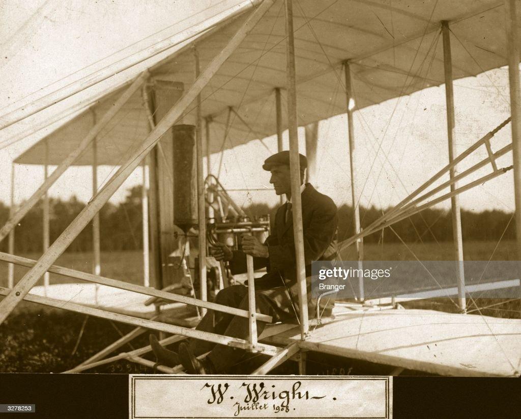 American pioneer aviator Wilbur Wright (1867 - 1912). Aeroplane Album - Vol 2 Page 58