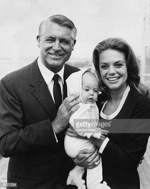 Film star Cary Grant with his fourth wife Dyan Cannon and their baby daughter Jennifer on a visit to England