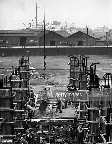 A construction site for a new road to speed traffic to and from the Victoria and Royal Albert docks in London's docklands